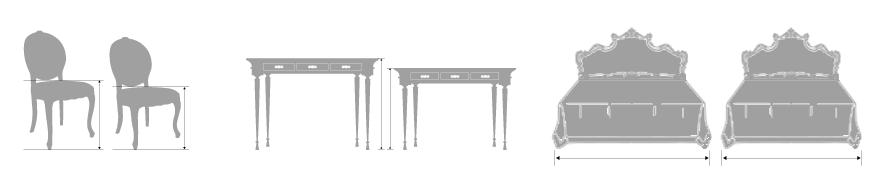 バロック・ロココ調イタリア高級家具のサイズ調整例